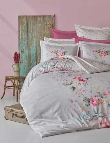 Soley Çift Kişilik Baskılı Saten Nevresim Takımı Florı Renkli